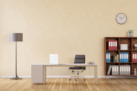 working place: Room with desk and laptop computer as business office (3D Rendering)