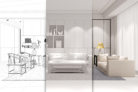 cad: Architect doing CAD room planning for a modern living room (3D Rendering)