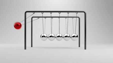 cradle: Ball flying in Newtons cradle to other balls (3D Rendering)