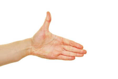 completion: Side view of hand reaching out for welcome gesture Stock Photo
