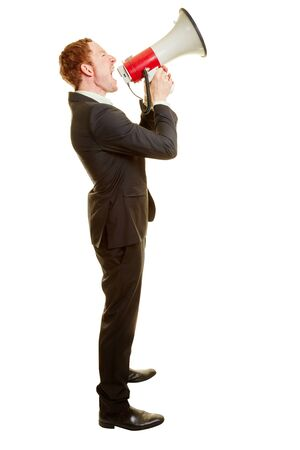 Businessman giving an announcement or the news with a megaphone Stock Photo