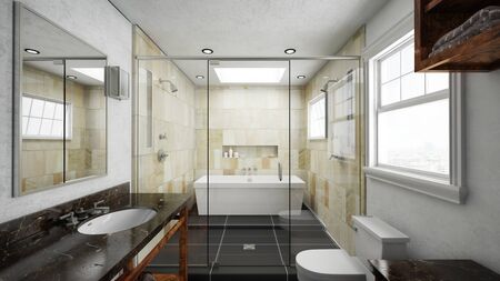 bathroom mirror: Bathroom with terracotta tiles and bathtub with shower (3D Rendering)