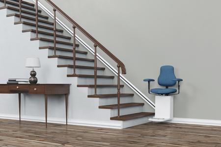 Traplift op trap voor ouderen in een huis (3D rendering)