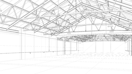 architectural firm: CAD construction model of a big warehouse (3D Rendering) Stock Photo