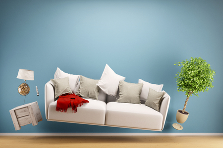 Zero Gravity Sofa hovering in living room with furniture (3D Rendering) Imagens - 76786259