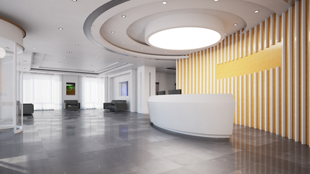 Reception or check-in in elegant modern business hotel