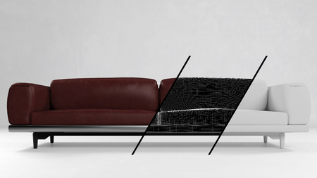 red sofa: Development and production concept of a sofa with CAD grid and 3D Rendering