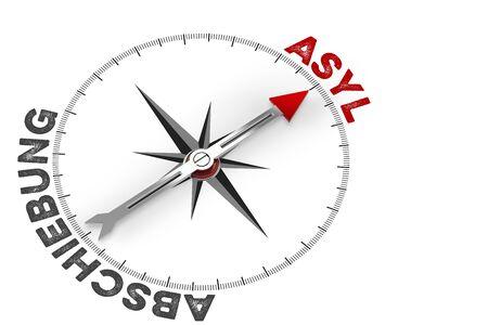German words Asyl (asylum) and Abschiebung (deportation) on a compass (3D Rendering)
