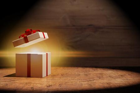 Fond de cadeau de Noël rougeoyant sur bois (rendu 3D)