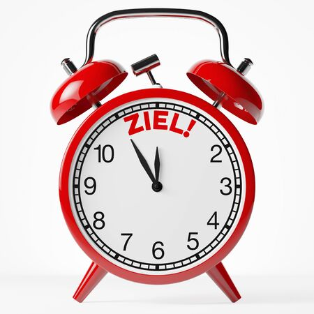 time specification: Red vintage alarm clock with the German word Ziel (goal) written on it (3D Rendering) Stock Photo