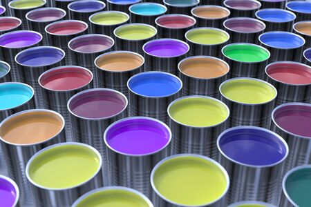 ink pot: Many different paint colors for printing (3D Rendering)