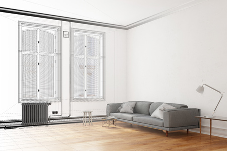 luxury living room: CAD planning of living room with gradient from wiremesh frame to 3D Rendering Stock Photo