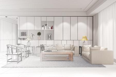 Interior designer doing CAD room planning for a modern living room (3D Rendering) Stockfoto
