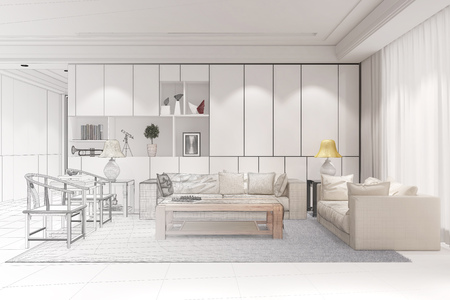 Interior designer doing CAD room planning for a modern living room (3D Rendering) Standard-Bild