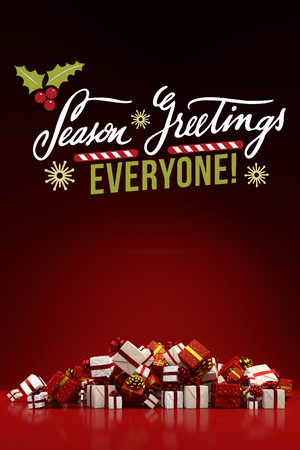 Seasons greetings everyone for christmas with many different seasons greetings everyone for christmas with many different gifts 3d rendering stock photo m4hsunfo