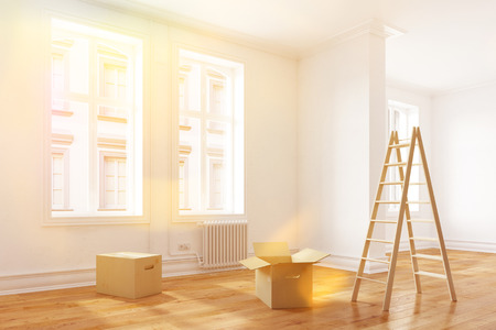 forwarding agency: Relocation to a new bright apartment with sunlight (3D Rendering) Stock Photo