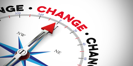 Arrow of compass pointing to the word Change (3D Rendering)