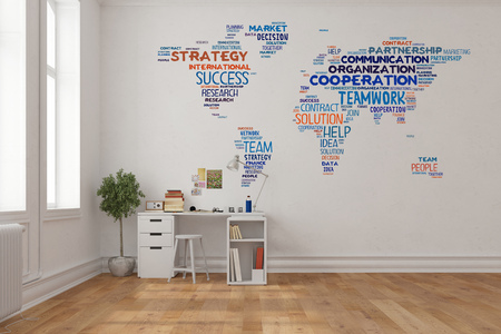 Teamwork concept on world map on a wall in home office over desk (3D Rendering) photo