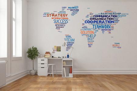 Teamwork-Konzept auf Weltkarte an der Wand im Büro zu Hause über Schreibtisch (3D-Rendering) Standard-Bild - 76786322