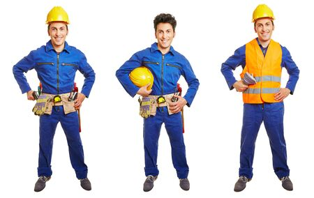 journeyman: Three versions of blue collar worker with overall and hardhat isolated on white Stock Photo
