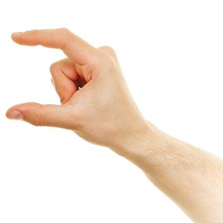 두 손가락 사이의 작은 크기를 보여주는 손