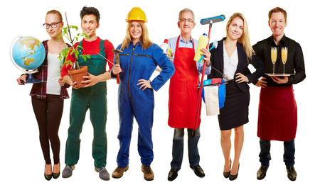Group with different occupations for employment agency ad photo
