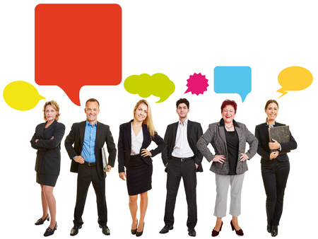 Communication business team concept with many colorful speech bubbles photo