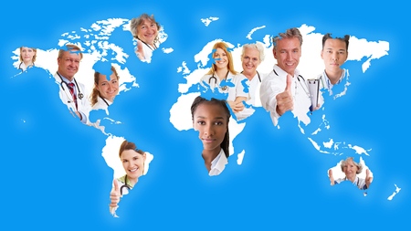 World map with many doctors as international cooperation network with no borders concept photo
