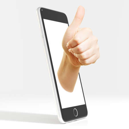 Hand in display of a smartphone holding thumbs up