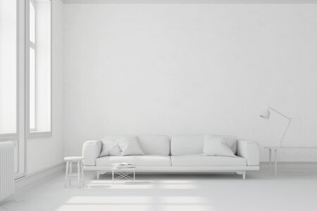 White living room with sofa and furniture (3D Rendering)
