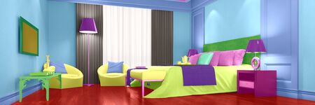 suite: Modern hotel room with bright colorful interior design (3D Rendering)