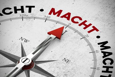 macht: Arrow of compass pointing to the German word Macht (power) (3D Rendering) Stock Photo