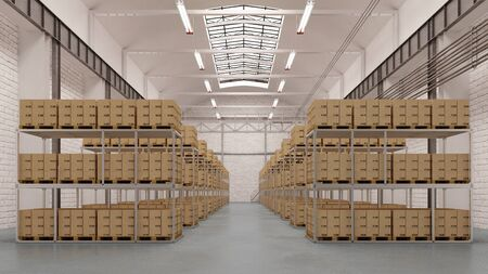 Big clean warehouse depot with shelves and boxes (3D Rendering)