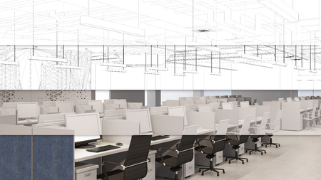 CAD planning of call center office from wireframe mesh to 3D Rendering