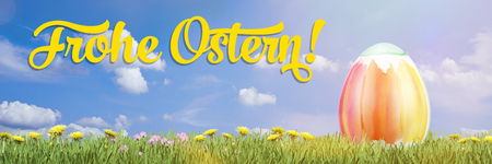 Easter egg with german greeting Frohe Ostern! (happy easter) (3D Rendering) Stock Photo