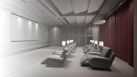 Plannung en CAD constructie van home theater (3D rendering)