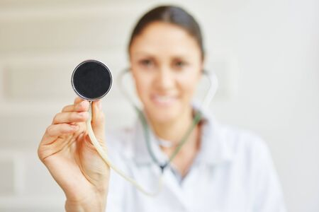 medical attention: Stethoscope to auscultate during medical consultations Stock Photo