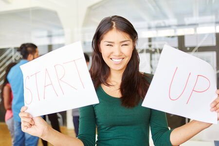 Woman in start-up during creative workshop holding two signs reading Start Up