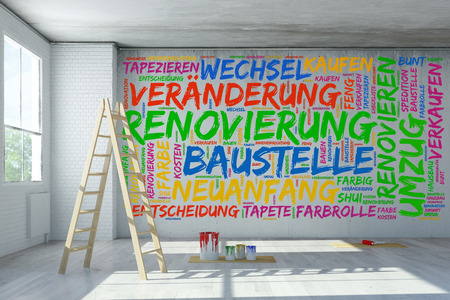 home office interior: German tag cloud with Renovation concept in old building (3D Rendering)
