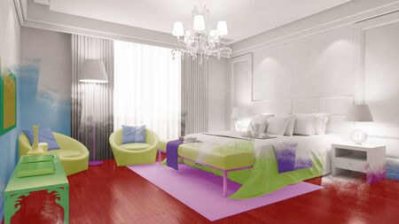suite: Bedroom in white with color painted over the image (3D Rendering) Stock Photo