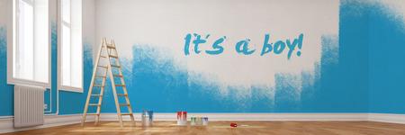 mit: Renovierung von einem Kinderzimmer mit dem Text Its a boy an der Wand
