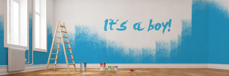 """Renovirung von einem Kinderzimmer mit dem Text """"Je to chlapec"""" an der Wand"""