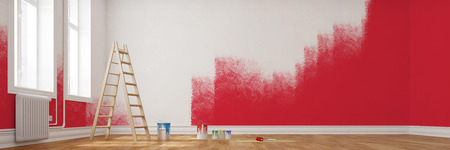 Painting red wall during renovation in an empty room (3D Rendering)