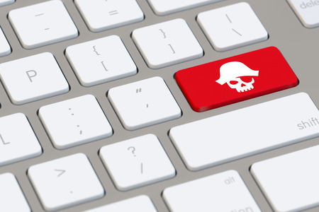 Online piracy icon on a computer keyboard (3D Rendering)