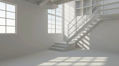 warehouse building: Clean empty white loft room with staircase (3D Rendering)