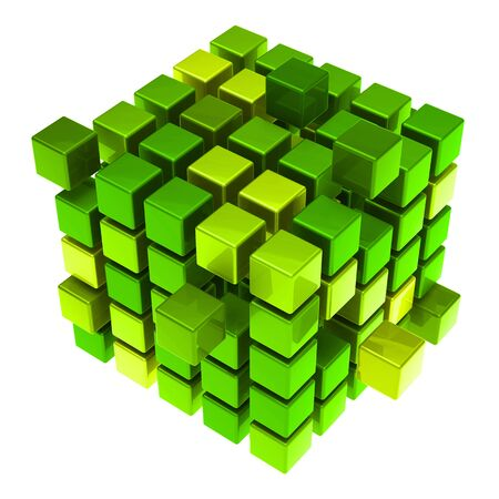 Many hovering 3D cubes as sustainability concept (3D Rendering) Stock Photo
