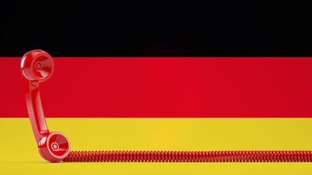 Old vintage red phone with German flag as background (3D Rendering)