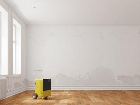 Deshumidificador profesional en la habitación después de daños por agua (3D Rendering) Foto de archivo - 82484046