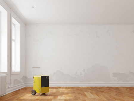 Professional dehumidifier in room after water damage (3D Rendering)