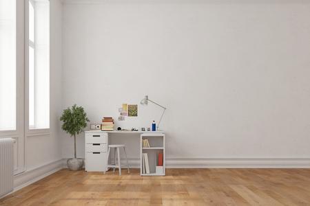Desk in corner of a room in an old building (3D Rendering)